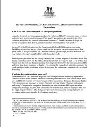 Fact Sheet on FLSA's Hot Goods Provision