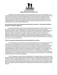 Fact Sheet on Immigration Reform and Agriculture