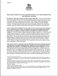 Fact Sheet on Proposal to Exempt Agriculture from Hot Goods Protection