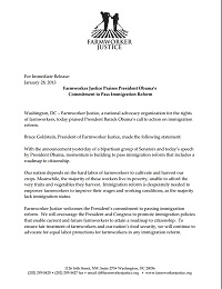 Farmworker Justice Praises President Obama's Commitment to Pass Immigration Reform
