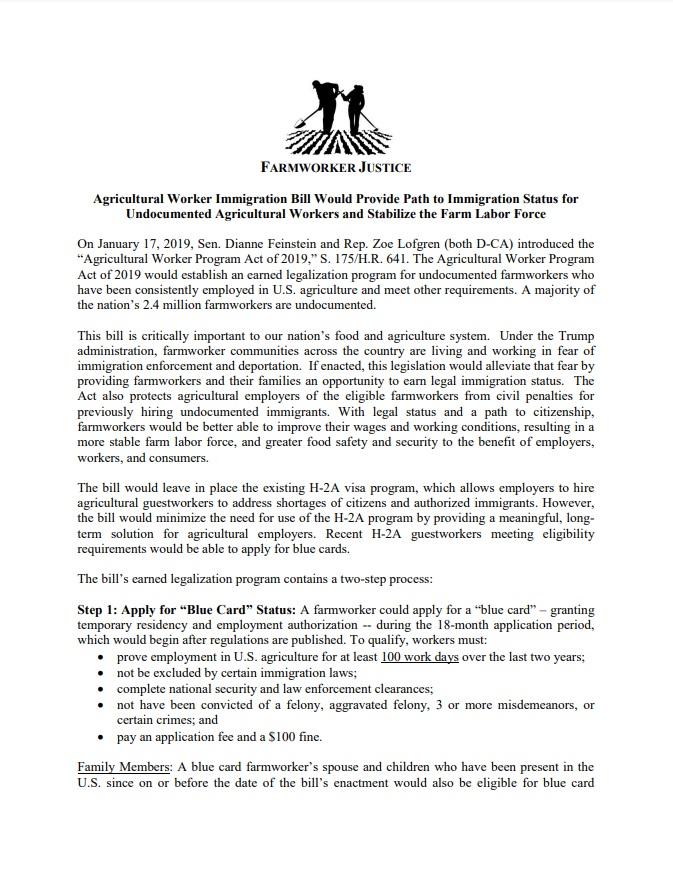 Ag Worker Immigration Bill Fact Sheet