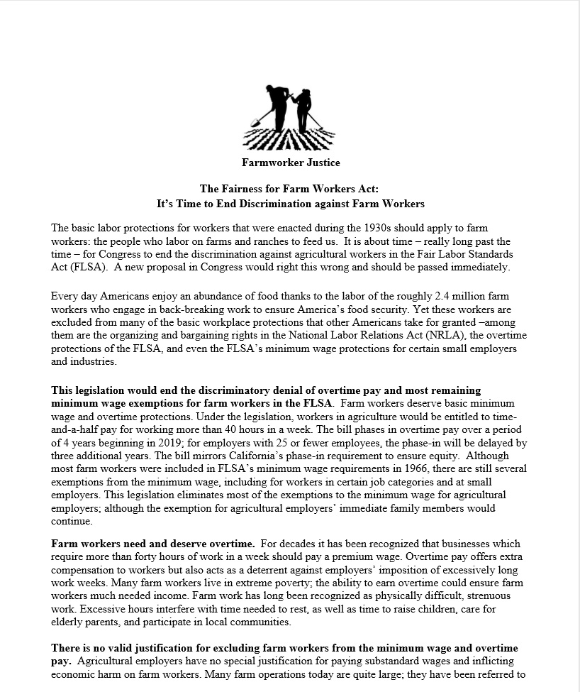 Fact Sheet on the Fairness to Farmworkers Act