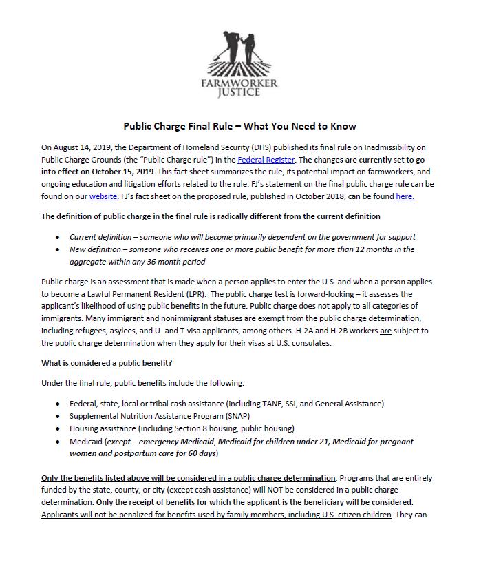 Public Charge Factsheet